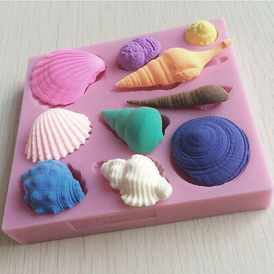 Silicone 3D Seashell Beach Shells Cake Molds Chocolate Mould Decoration 2Y