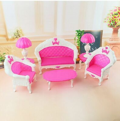 6PCS Dollhouse Furniture Living Room Sofa Set Couch Chair Armchair For Barbie  !