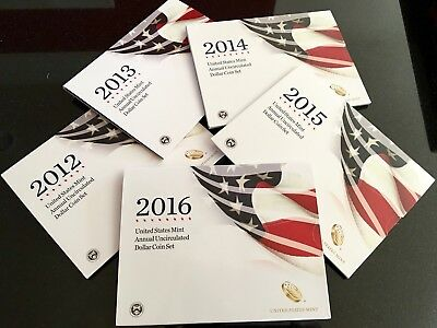 2012 2013 2014 2015 2016 Annual Uncirculated Dollar Coin Sets  Burnished Silver