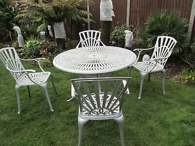 Aluminium Large Garden Table And 4 Armchairs Furniture Set