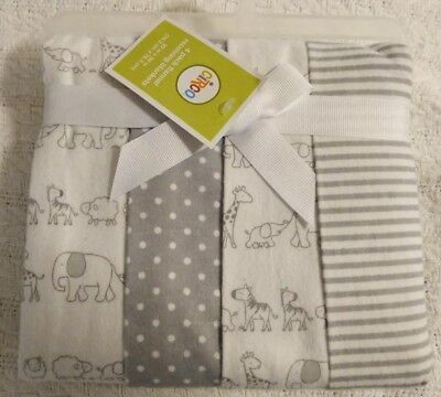 Circo Receiving Blankets Zoo Animals Gray White Dot Stripe Flannel NEW 4-pack