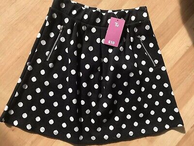 BNWT Brand new with tags girls TU black skirt, white spots & zip pockets age 11