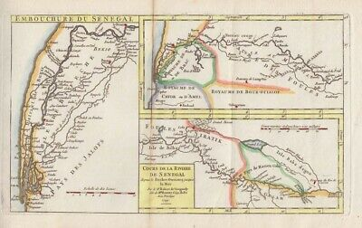 1749 Vaugondy Map of the Senegal River - Slave Trade