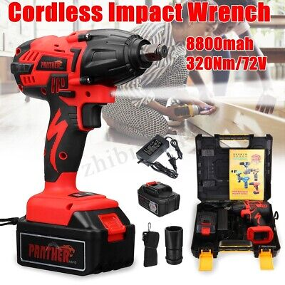 """1/2"""" Cordless Electric Impact Wrench 320Nm Brushless Torque Tool 72VF 8800mAh"""