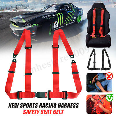 """4 Point Sports Racing Seat Belts Safety Harness 2 """" Universal Adjustable  !"""