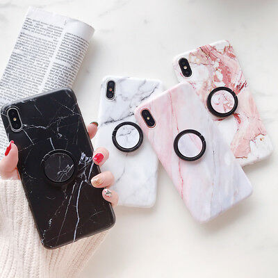 Soft Pastel Marble Pattern Holder Cover Case Shockproof For iPhone X 6s 8 7 Plus