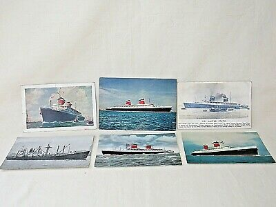 6 United States Line PCs. 4 Different of SS United States, SS America, C-2 Cargo