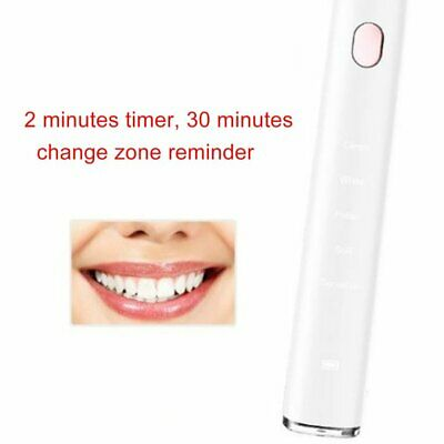 Electric Toothbrush with 5 Optional Modes 2 Replacement Heads Rechargeable FR