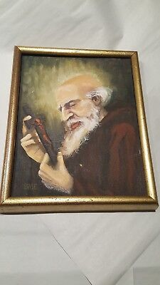 Vintage Original Art Oil Painting Signed SME Old Bearded Man w/ Cross Crucifix