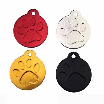 Round Paw Dog Tags Engraved Cat Puppy Pet Collar Tag Bone Paw Glitter /k