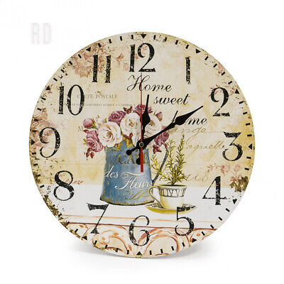 "LOHAS Home 30cm Silent Wooden Round Wall Clock, 12"" Vintage Shabby Chic..."