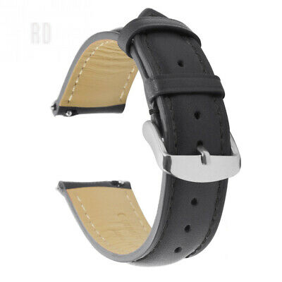 Quick Release Leather Watch Strap Replacement Genuine Calfskin Band Polished...