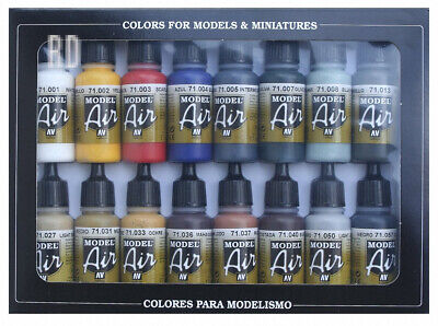 Vallejo Model Air Basic Colors Acrylic Paint Set for Brush - Assorted...