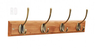 keypak Victorian 4 Hook Wall Mounted Coat Rack, Oak, Brass