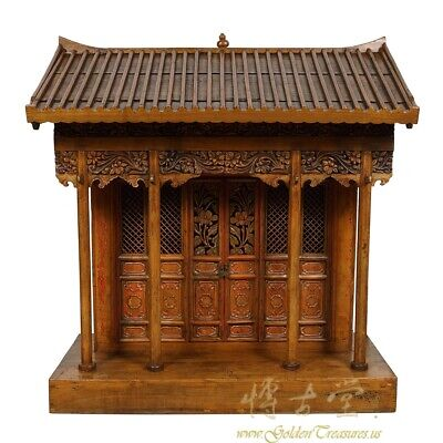 19 Century Antique Chinese Wooden Carved Altar/Buddha House/Shrine