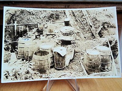 1920's Prohibition Real Photo Postcard Where The Moonshine Is