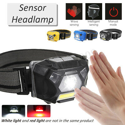 USB Rechargeable Hand Sensor Torch LED COB Headlamp Headlight Red/White  !