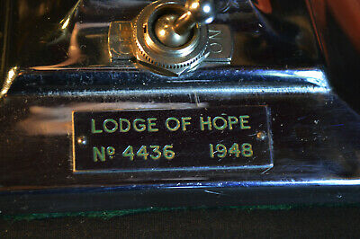 Rare Art Deco Chrome Lamp Stone Masons' Lodge of Hope 4436 Birmingham 1948