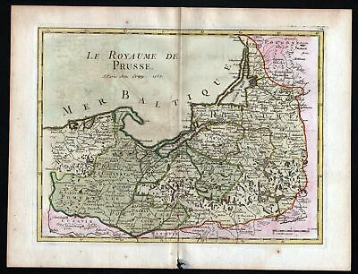 1757 Preussen Polska Lithuania Russia map Kupferstich antique print Le Rouge
