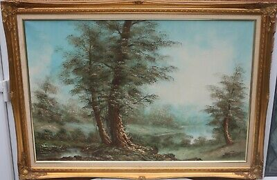 Fab Very Large Gilt Framed Painting On Canvas Of A Landscape Signed
