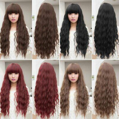 Womens Cosplay Wig Long Wavy Curly Ombre Red Hair Costume Party Lolita FullN S@