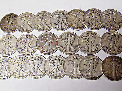 Lot of 20 Walking Liberty Silver Half Dollars 1941-1945 VG-F 90% Silver Coins