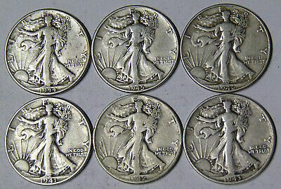 Lot of 6 Walking Liberty Silver Half Dollars 1941 1942 1943 1944 1945 1946 Fine