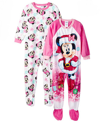 b5565f6597 Minnie Mouse Pajamas Blanket Sleepers Fleece Footed Set of 2 Christmas 4T  NWT