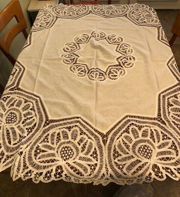 """Antique Victorian Linen Handmade Battenburg Lace Tablecloth Oval to Round 70x68"""""""