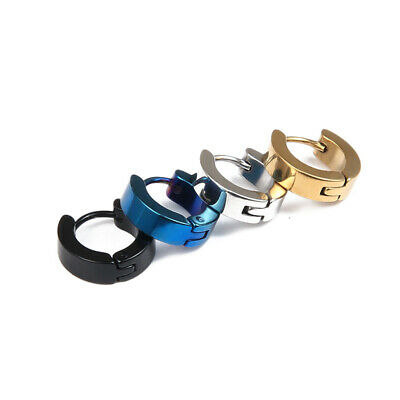 2Pc Pair Unisex Stainless Steel Multi-Colour Fashion Hoop Huggie Sleeper Earring