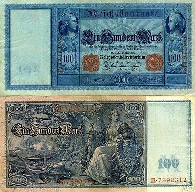 Germania 100 Marco Banconote 1910 Imperiale WWI Currency Soldi WWII Ww2