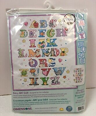 Dimensions Nursery Baby Hugs ABC Embroidery Quilt Crib Cover Kit 72917 Stamped