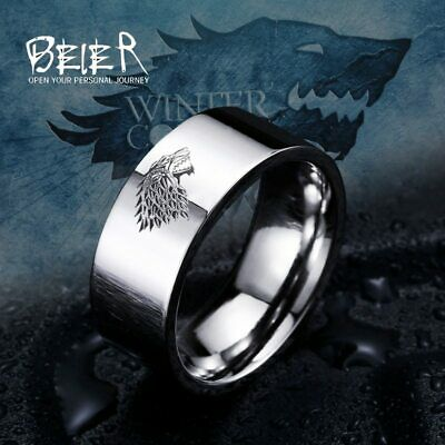 Ring For Men Viking Game of Thrones ice wolf Stark of Winterfell Stainless Steel