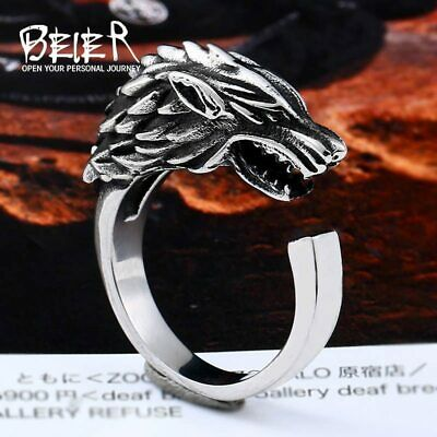 Ring For Men Viking Game of Thrones Ice Wolf Starck of Winterfell Stainless Stee