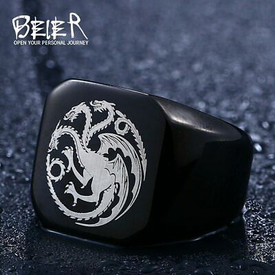 Ring For Men Game Of Thrones Winterfell Dragon Stainless Steel