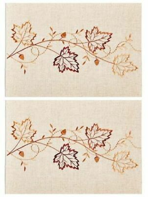 """13/"""" X 18/"""" Owl design set of 2 Fall Fest Tapestry Placemats NWT"""
