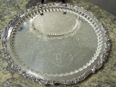 WALLACE SILVER Ex LARGE BAROQUE WAITER COFFEE SERVICE TRAY - OUR FineThings4sale