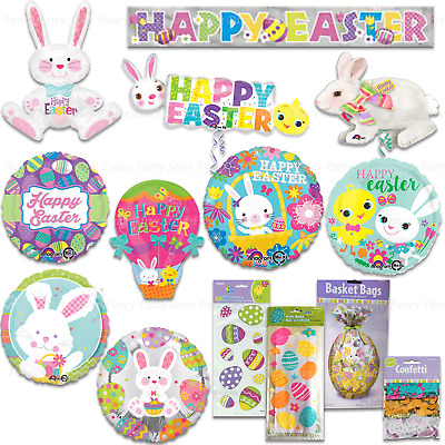 Happy Easter Decorations - Foil Balloons, Cello Bags, Banner - Bunny, Egg, Chick