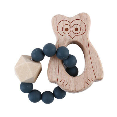 Baby Bracelets Wooden Crochet Beads Teether Silicone Teething Rattles Toy L