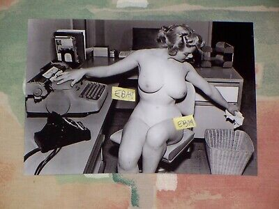 5X7 Vintage Photo Woman Naked In The Office At A Desk Casual Friday Nude Breasts