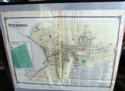 1868 Map Peekskill & Cemetary Westchester County, Ny Beers Atlas Hand Colored