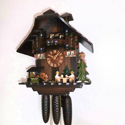 xl cuckoo clock 2 melodies black forest wall clock  dancer and beer trink  8 day