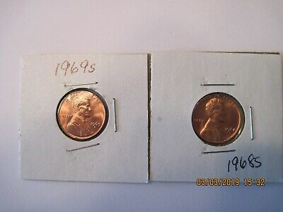 2- Brilliant uncirculated Lincoln cents. 1968s +1969s