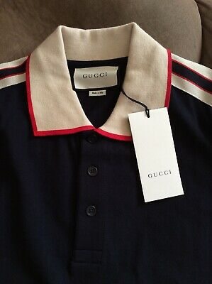 3c6d4af1 Gucci Polo T Shirt Mens New Genuine Size Xl New Tags Cotton 100% Casual