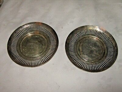 An Antique Pair of William Mammott Small Silver Plate Pierced Edged Round Trays