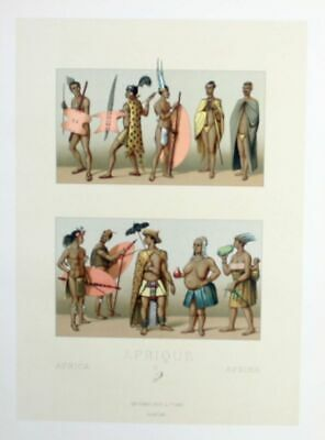 1880 - Afrika Africa Cafres costumes Trachten Lithographie lithograph