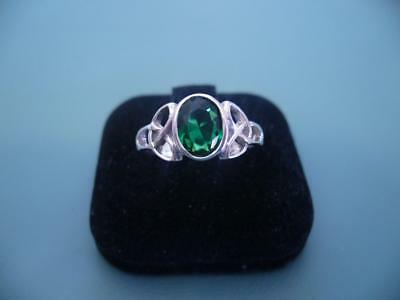 Gorgeous Created Emerald Celtic Ring - Sterling Silver 925 - Size 7 / O - 3g