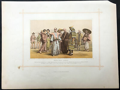 1870 John Bartholomew Large Antique Print of Japanese Peoples, Military, Workers