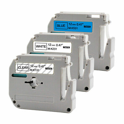 "3PK MK121 MK231 MK531 0.47""Label Tape P-Touch Compatible Brother PT65 PT80 PTM90"