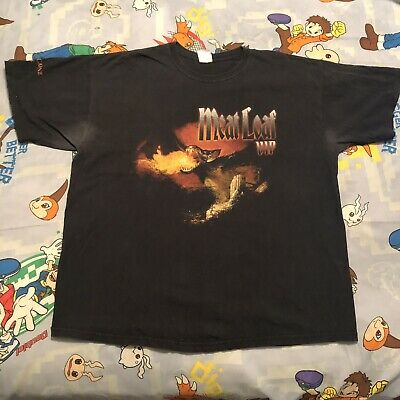 VTG 90s Meat Loaf Bat Out of Hell World Concert VIP Tour T-Shirt Flaming XL